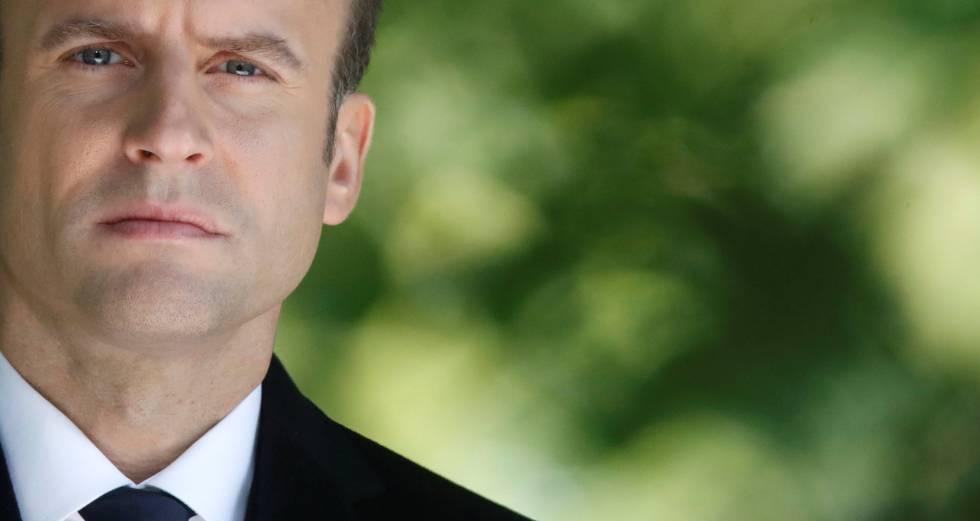 O presidente eleito, Emmanuel Macron, na cerimônia de comemoração da abolição da escravidão.