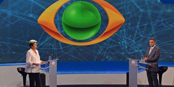 Presidente Dilma Rousseff e senador Aécio Neves no debate da Band.