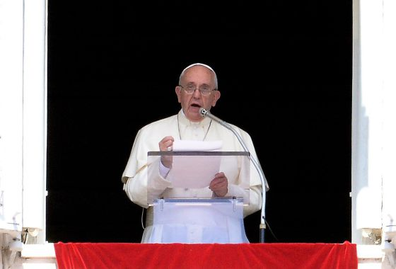 O papa Francisco, durante o Ângelus neste domingo.