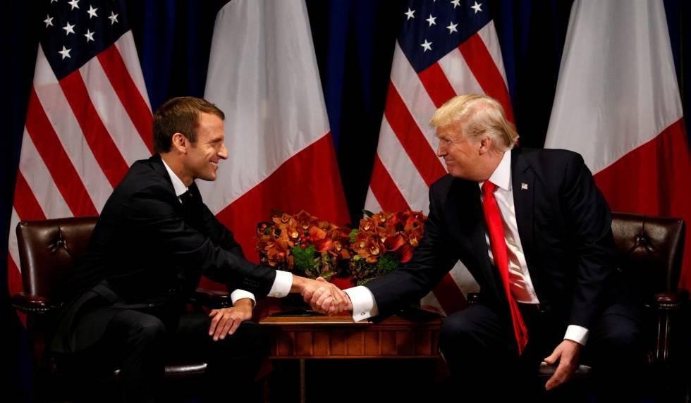 Donald Trump e Emmanuel Macron em Nova York, em 18 de setembro.