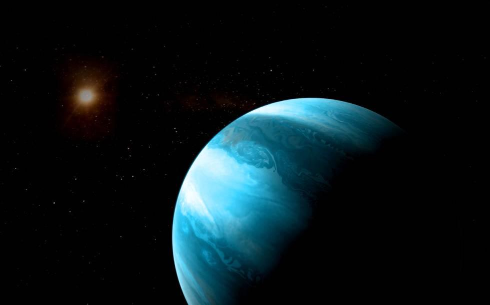 Reconstrução de um gigante gasoso orbitando uma estrela anã vermelha.