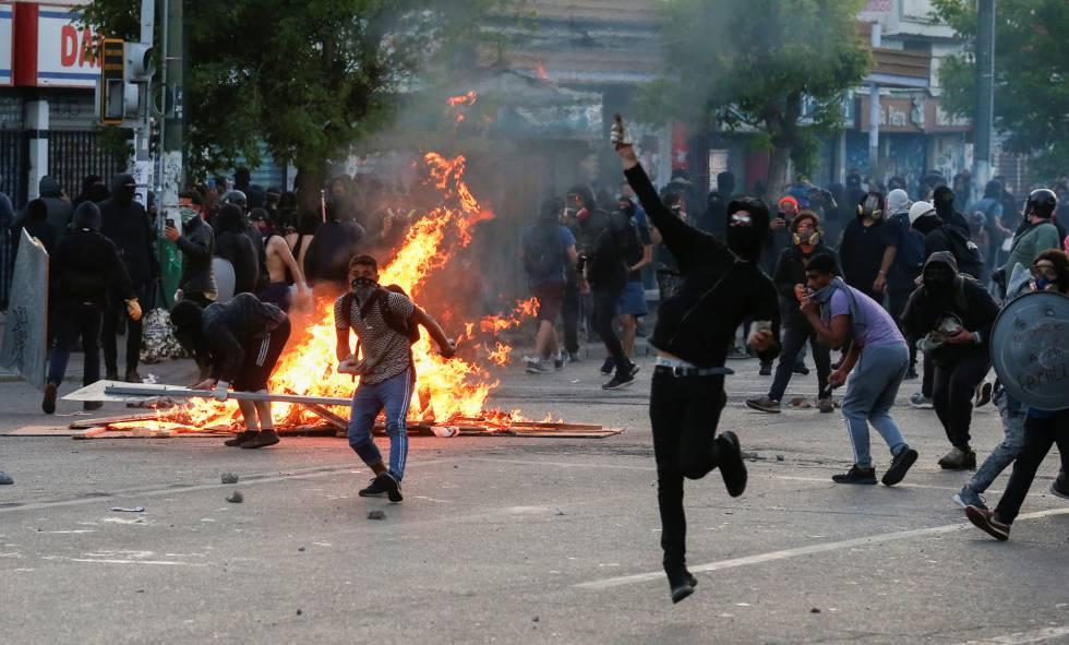 Protestos em Valparaíso, Chile.
