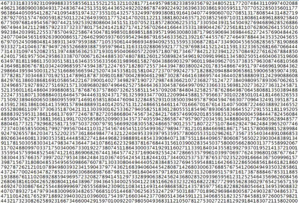 Início do maior número primo conhecido até a data.