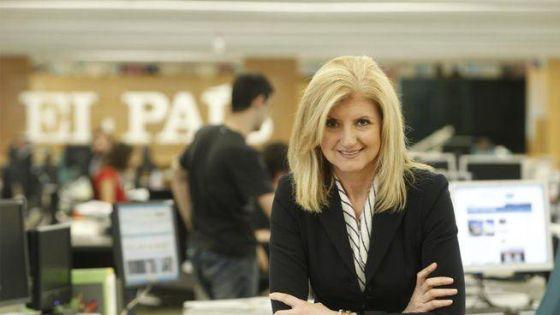 Arianna Huffington na redação de EL PAÍS, em Madri