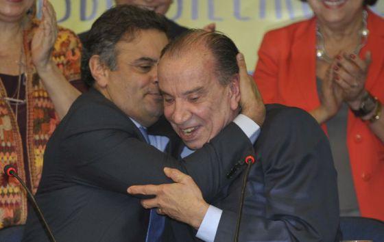 Aécio Neves e Aloysio Nunes na reunião do PSDB.