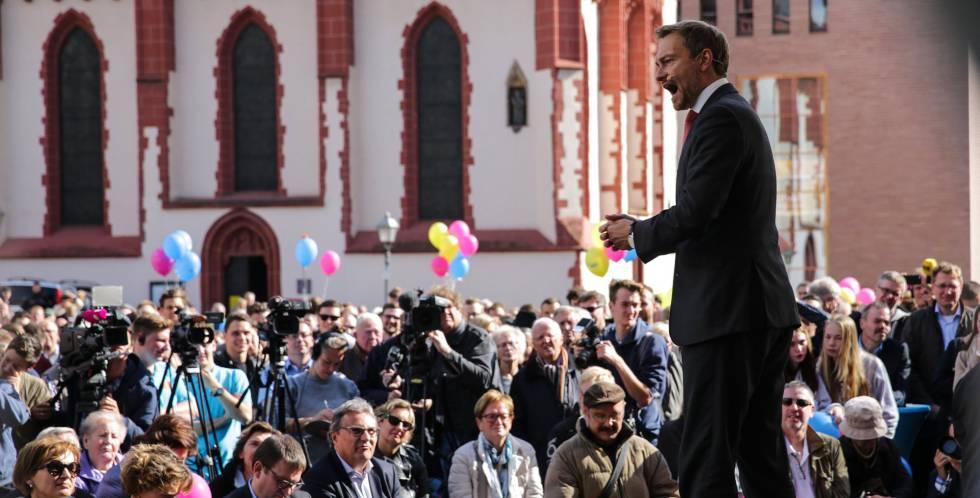 O líder do FDP alemão, Christian Lindner, em um ato em Frankfurt.