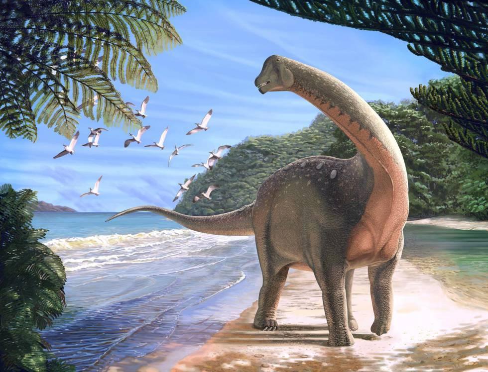Reconstrução de um titanossauro que viveu há 80 milhões de anos.