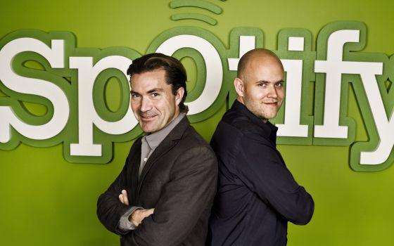 Os fundadores de Spotify, Martin Lorentzon e Daniel Ek.