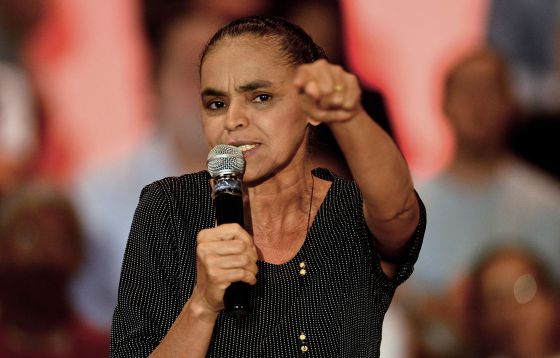 Marina discursa na inauguração do REDE, partido que criou em 2013.