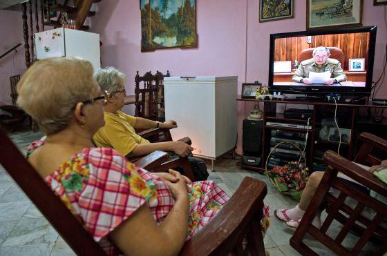 Pronunciamento de Raul Castro na TV em Cuba.