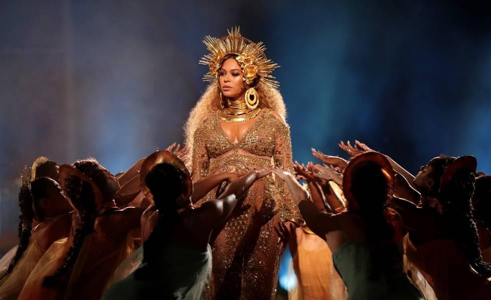 Beyoncé em sua apresentação no Grammy de 2017, em Los Angeles.