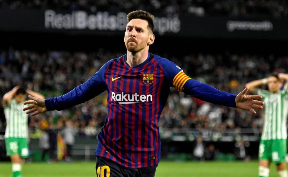 Messi celebra o quarto gol do Barcelona ante o Betis.