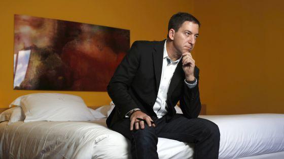 Glenn Greenwald, em um hotel em Madri nesta quinta-feira.