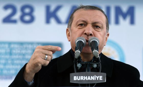 O presidente Erdogan neste sábado em Burhaniye.