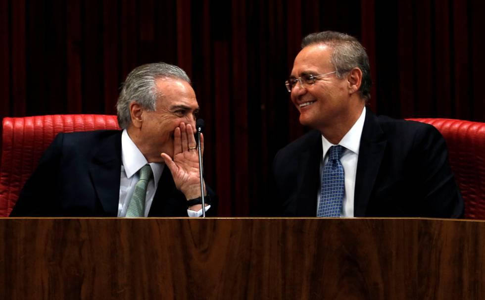 Michel Temer conversa com o presidente do Senado, Renan Calheiros.