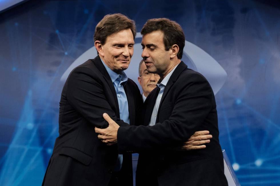 Marcelo Crivella e Marcelo Freixo, no debate do 6 de Outburo na TV Bandeirante