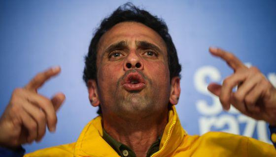 Capriles, em um ato em apoio a Ledezma em fevereiro.
