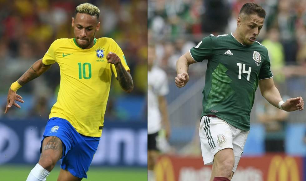 Neymar e Chicharito, os destaques de Brasil e México.