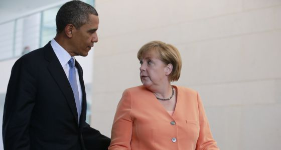 Barack Obama e Angela Merkel em junho de 2013 em Berlim.