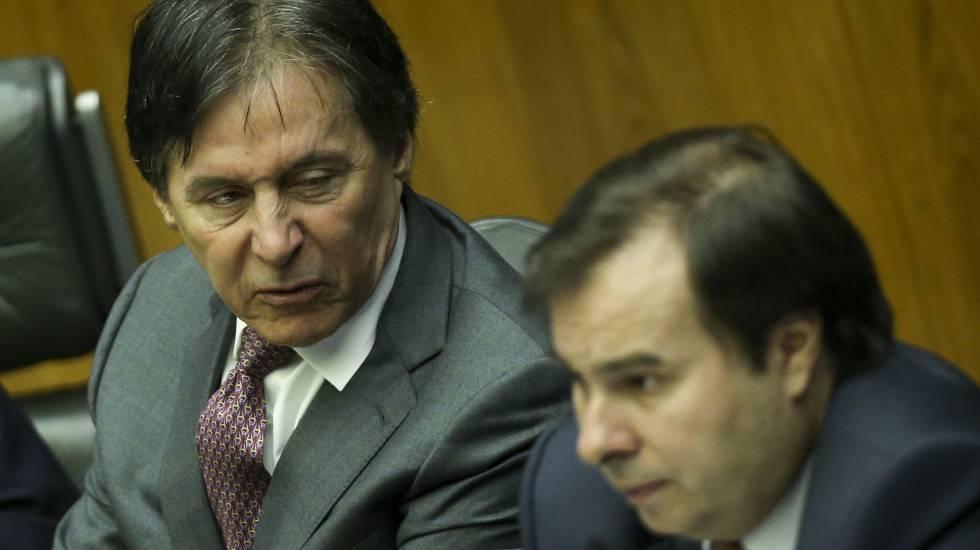 Os presidentes do Senado, Eunício Oliveira, e da Câmara, Rodrigo Maia.