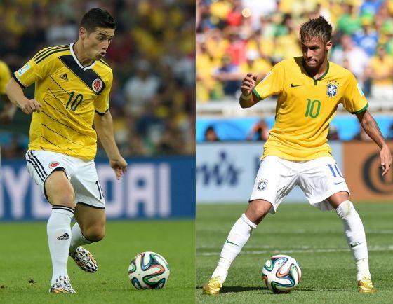 James e Neymar, os camisas 'dez' da Colômbia e do Brasil.