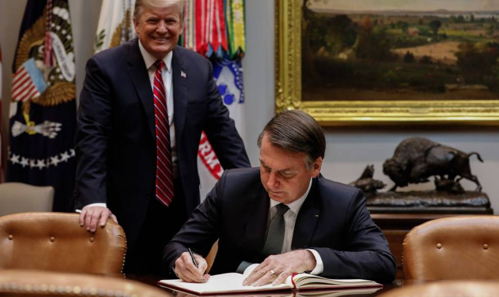 Trump e Bolsonaro na Casa Branca.