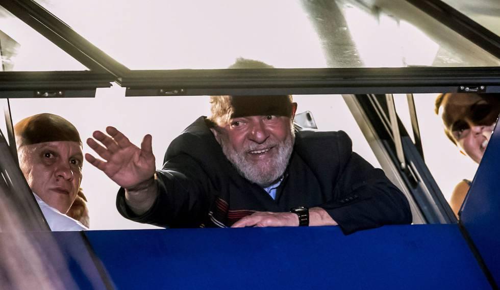 O ex-presidente Lula, na sede do sindicato dos metalúrgicos.