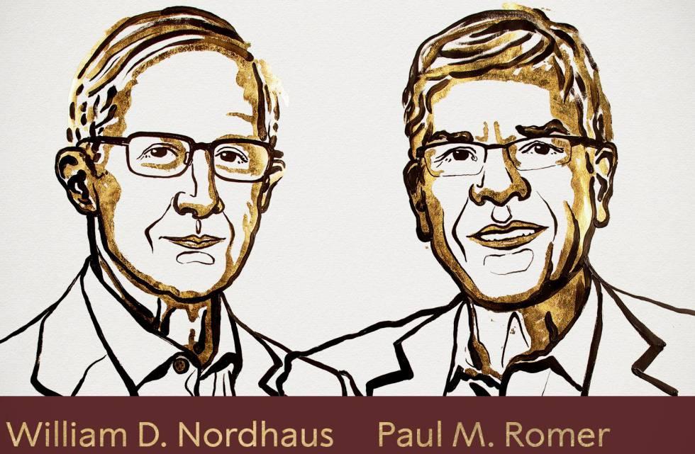 Os novos ganhadores do Nobel de Economia, em uma ilustração de Niklas Elmehed, divulgada pela Academia Sueca.