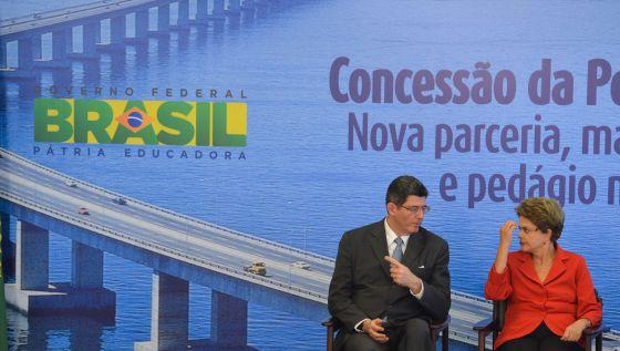O ministro Levy e Dilma Rousseff.