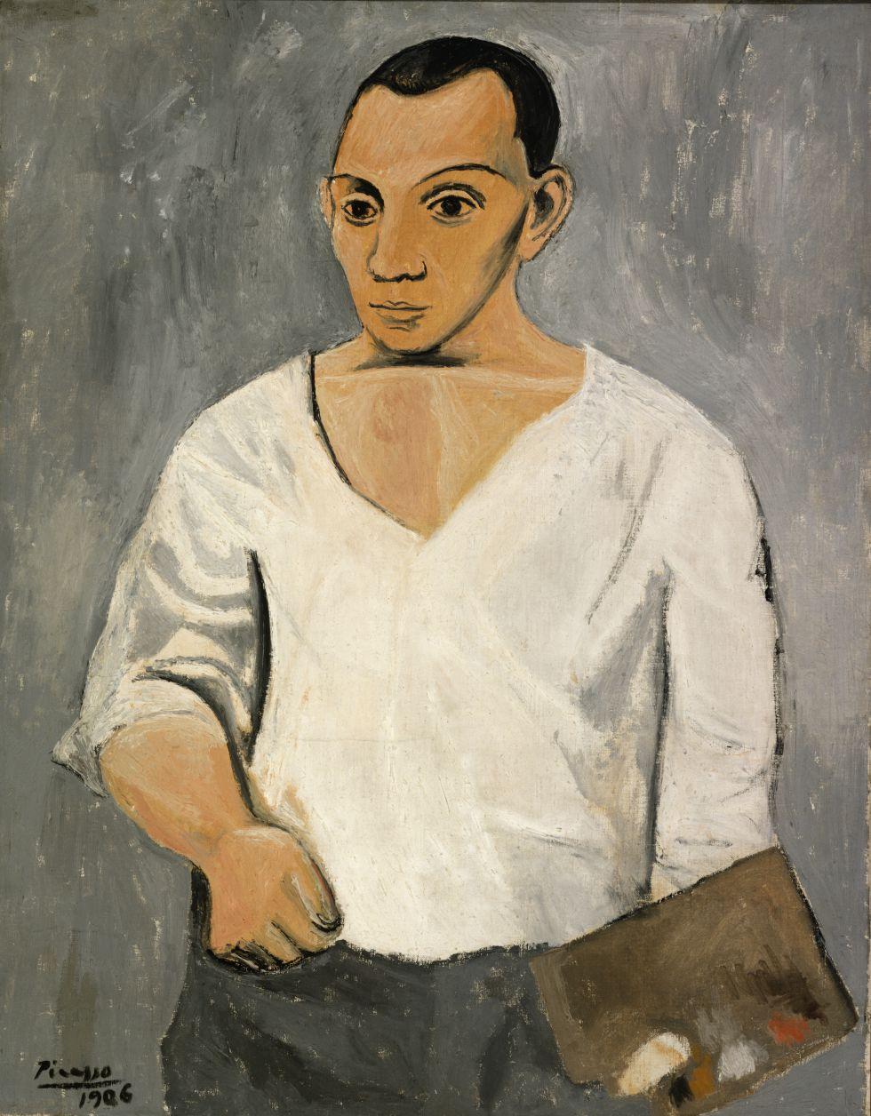 1. Pablo Picasso. 'Autorretrato com paleta', 1906. Óleo sobre tela, 91.9 x 73.3 cm. A. E. Gallatin Collection, 1950. Philadelphia Museum of Art.