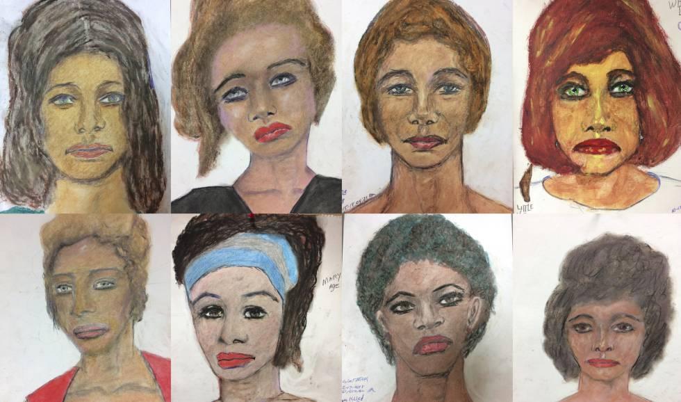 Retratos feitos por Samuel Little de suas vítimas. No vídeo, os depoimentos do assassino.