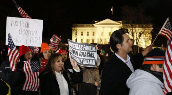 Concentração em apoio a Obama, em novembro de 2014, depois do anúncio da reforma.