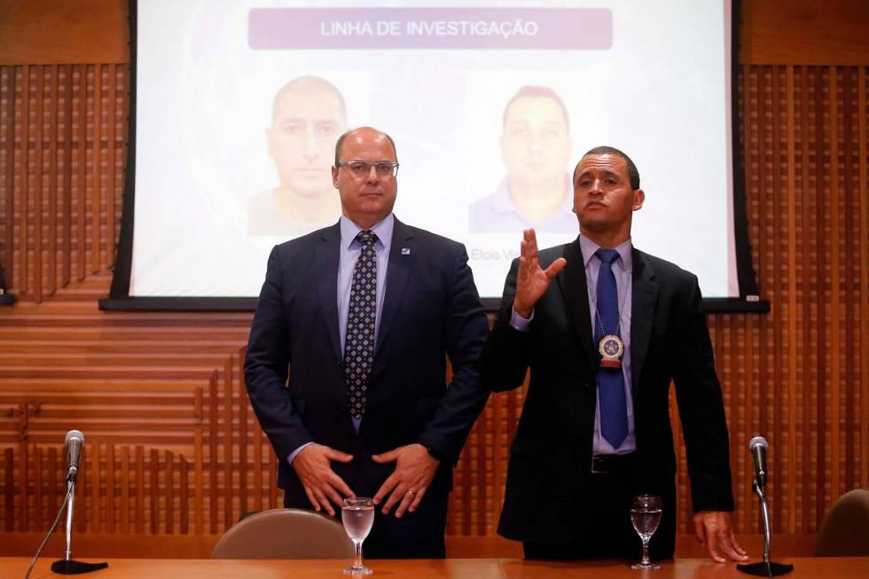 O governador Wilson Witzel e o delegado Giniton Lages, nesta terça no Rio.