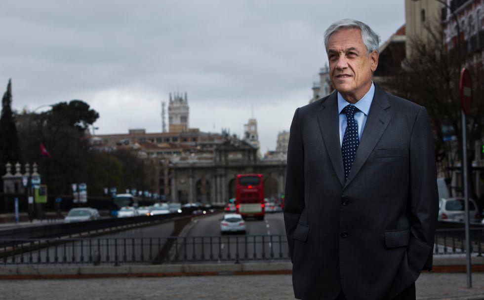 Sebastián Piñera, ontem em Madri.