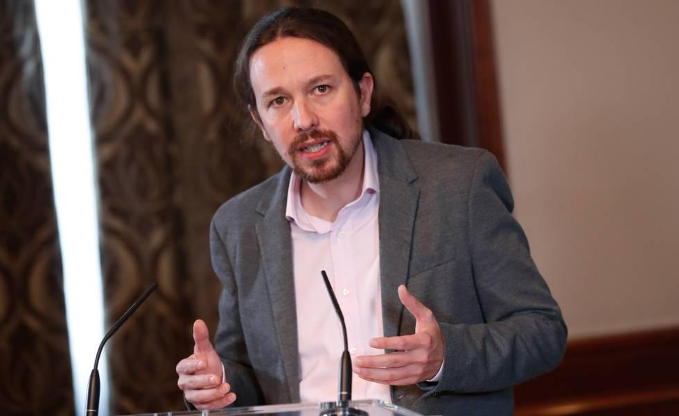 El líder de Unidas Podemos, Pablo Iglesias, en la rueda de prensa posterior a la firma del acuerdo de Gobierno de coalición con el PSOE.