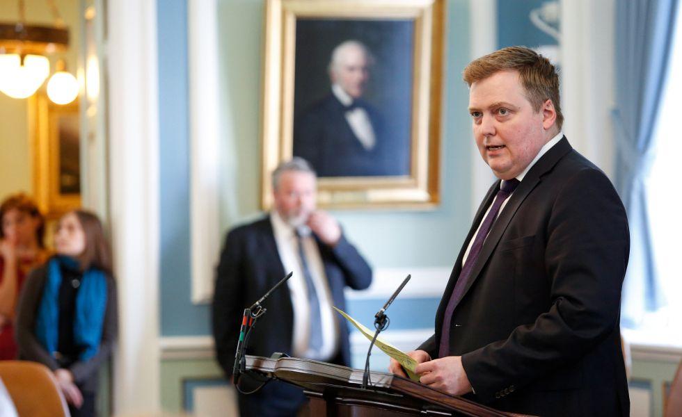 O primeiro-ministro islandês, Sigmundur David Gunnlaugsson, nesta segunda-feira em Reykjavik.
