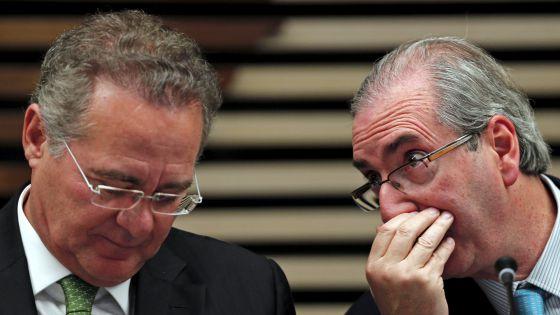 Eduardo Cunha e Renan Calheiros durante evento nesta quinta-feira.