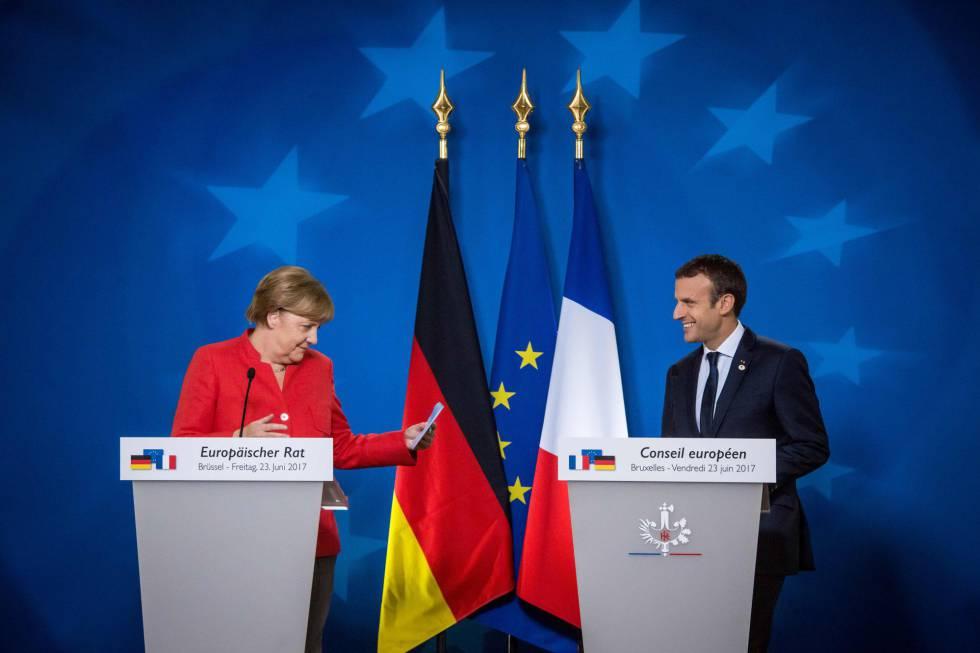 Merkel e Macron na coletiva
