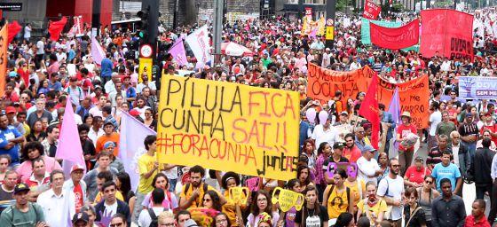 Movimentos sociais em protesto contra Cunha no domingo.