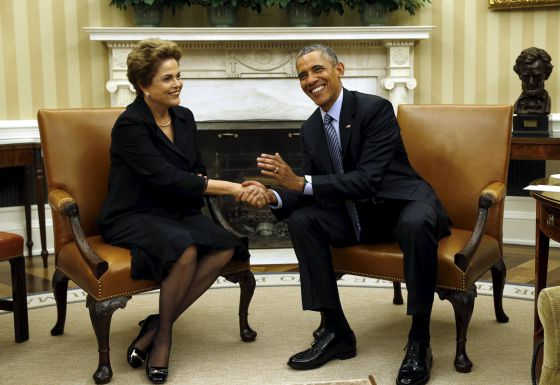 Dilma e Obama na Casa Branca.