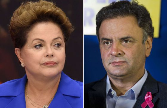 Os dois candidatos à presidência, Dilma e Aécio.
