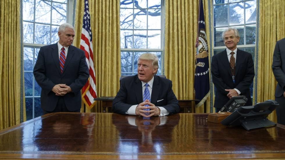 O presidente Donald Trump no Salão Oval.
