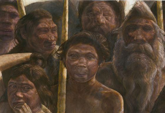 Ilustração de um grupo de hominídeos da Sima dos Ossos.