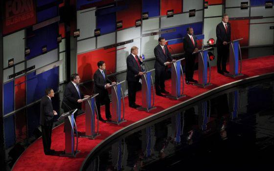 Os sete participantes no debate de North Charleston