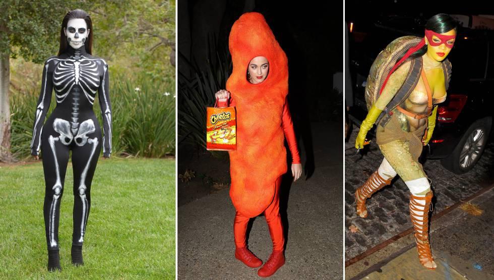 Da esquerda para a direita: Kim Kardashian, Kat Perry e Rihanna, disfarçadas.