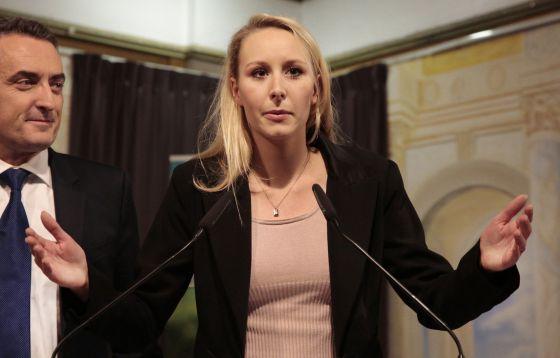 Marion Maréchal-Lhe Pen, uma das candidatas da extrema direita francesa derrotadas no 13 de dezembro, em seu discurso depois do anúncio dos resultados.