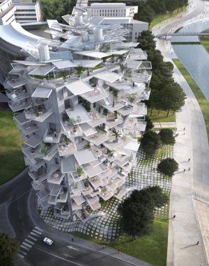 Projeto da torre-árvore em Montpellier do arquiteto japonês Sou Fujimoto.