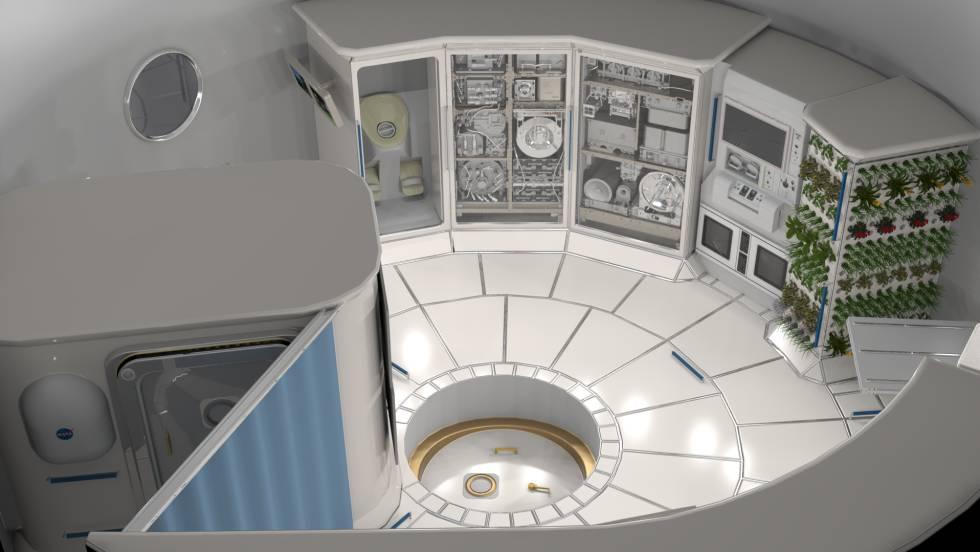 Ilustração do interior de um 'habitat' no espaço