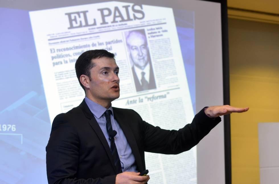 David Alandete, diretor adjunto de EL PAÍS, durante um momento da conferência internacional da Associação Internacional de Mídia Jornalística.