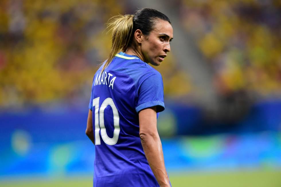 Marta no jogo do Brasil contra a África do Sul em 9 de agosto.